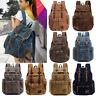 Women Men Unisex Vintage Canvas Backpack Rucksack Satchel School Bag Hiking Bag