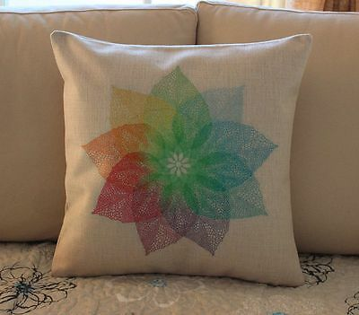 Colorful Leaves Nature Cotton Linen Cushion Cover Throw Pillow Home Decor B739