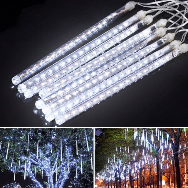 30cm meteor shower rain 8 tube led solar string lights christmas wedding garden