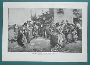 ITALY-Folk-Vestival-in-Venice-Food-Music-Cards-Play-1892-Victorian-Era-Print