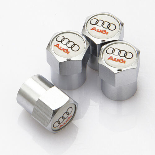 Fits AUDI 4 x Silver Chrome Tyre Valve Dust Caps WHITE