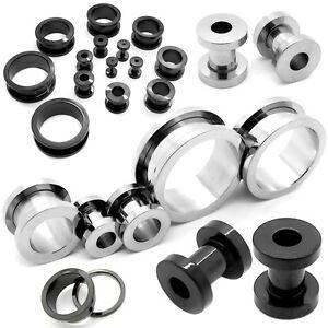 1Paar-Flesh-Tunnel-Schwarz-Silbern-Tunnelset-Stahl-1-2-25-mm-Piercing-Dehnstab