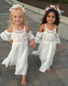 9a2f9b19933f2 Details about Girls Princess Dress Kids Baby Party Beach Wedding Pageant  Lace Long Dresses
