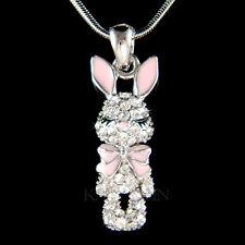 w Swarovski Crystal Rabbit Easter Bunny Hase Pink Bow Charm Necklace Jewelry New