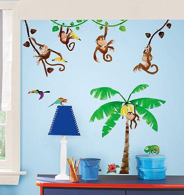 Wandsticker Dschungel Wandtattoo Monkey's Affen Palme selbstklebend 27 Stück