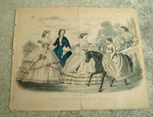 "1860 GODEY'S BOOK FASHION PRINT FOR JULY ANTIQUE VINTAGE ART PRINT 12"" x 10"""