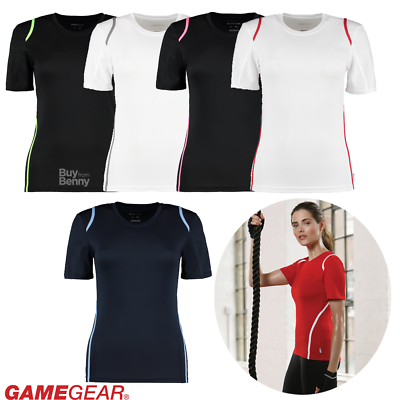 Gamegear Ladies Sport T-shirt Fitness Gym Dry Wicking Contrast Colours Tee 8-16 Reisen