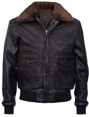 Mens Aviator Air Force Vintage Distressed Brown Genuine Leather Bomber Jacket