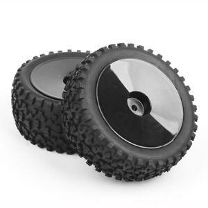 4pcs-1-10-Buggy-Tires-Front-amp-Rear-Rubber-Tyre-Wheel-Rim-Fit-HSP-HPI-RC-Off-Road