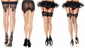 9e3698b6a57 Nude   Black Cuban Heel Seamed Stockings Lace Top   Vintage Seams