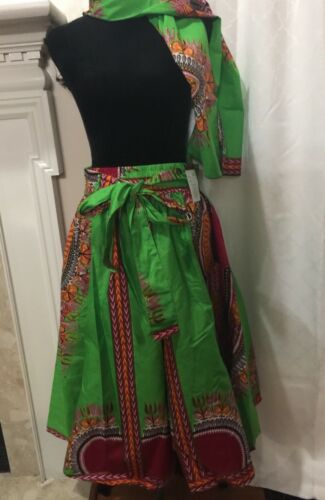Dashiki FlareWomen Short Skirt with Free Scarf One Size Yoachy Collections