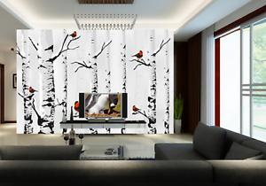 3D Birch Trees Birds 8 Wall Paper Murals Wall Print Wall Wallpaper Mural AU Kyra
