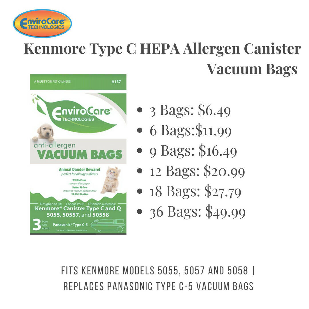 50558 Allergen HEPA Cloth Bags Kenmore A137 Canister Type C /& Q 5055 50557