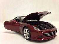 Ferrari California T Race Play,collectible, Burago ,diecast 1:24, Burgundy,h/top