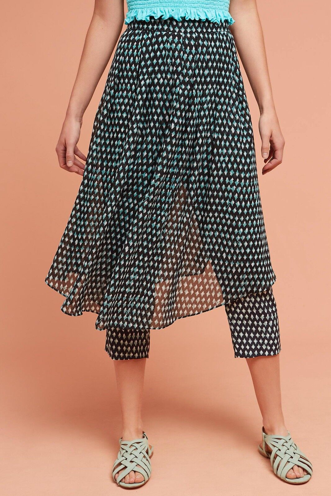 Anthropologie HD In Paris Skirted Waterfront Pants Geometric Pattern Size 6  118