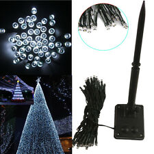 New White 50 LED Solar Power String Fairy Lights Flash Garden Xmas Party Decor