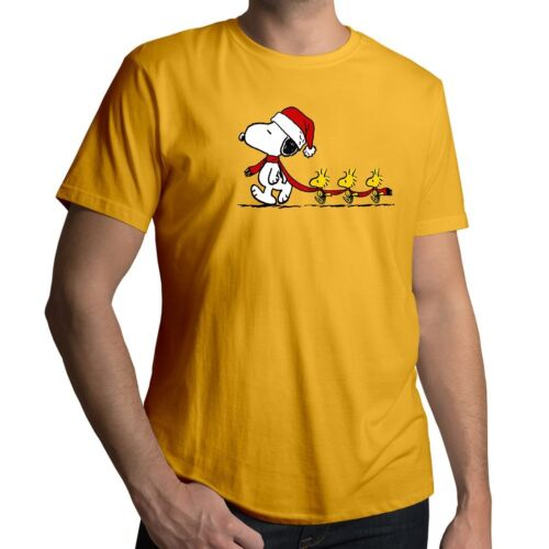 Peanuts Christmas Snoopy Leading Woodstocks Mens Unisex Cotton Top Tee T-Shirt