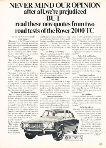 1969 Rover 2000 TC Sedan Classic Vintage Advertisement Car Ad J18