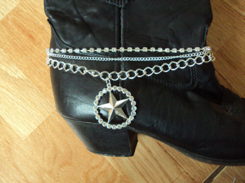 """1for each boot Boot bracelets star rhinestone silver 15/"""" 1 set DAD-697"""