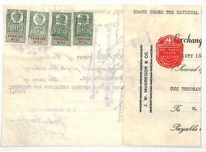DD27 1950 AUSTRALIA GB REVENUE Mixed Franking Document KGVI Foreign Bill BANKING