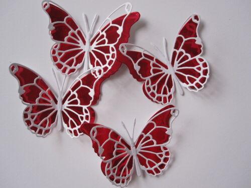 12 medio 3D Die Cut Mariposa Toppers Rojo//Blanco Boda//Cumpleaños