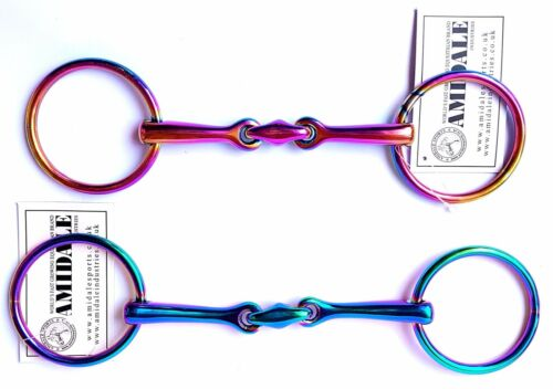 AMIDALE RAINBOW LOOSE RING LOZENGE FAT LINK STAINLESS STEEL SNAFFLE HORSE BIT
