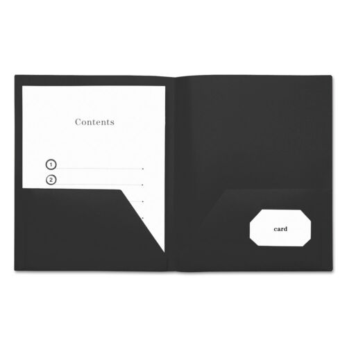 Universal Two-Pocket Plastic Folders 11 x 8 1//2 Black 10//Pack 20540