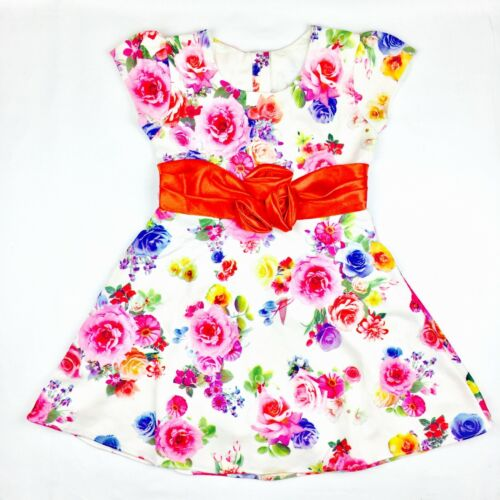Girls Cotton Dresses Kids Summer Party Flower Age 3 4 5 6 Years Red