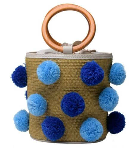 Handmade Straw Raffia Pom Pom Bucket Bag Wooden Handles Strap Mango Stories Blue