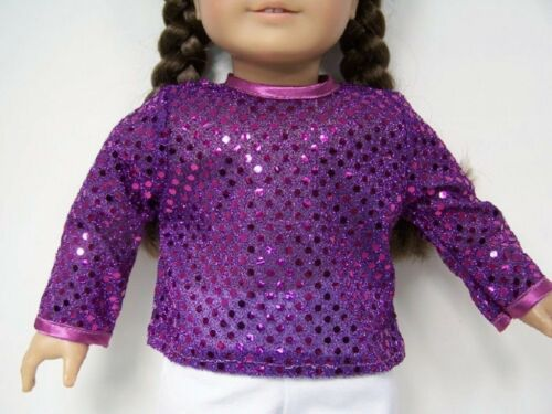 "Debs PURPLE Sparkle Faux Sequin Shirt-Top Doll Clothes For 18/"" American Girl"
