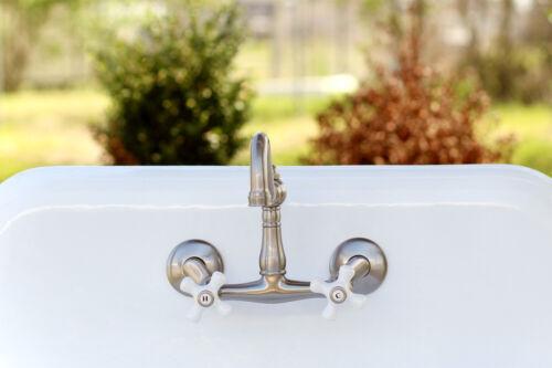 Satin Nickel Adjustable Kitchen Sink Bridge Wall Faucet Porcelain Knobs KS3228PX