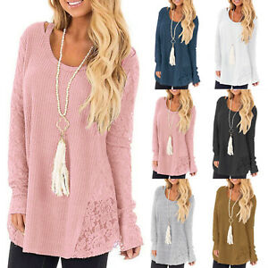 Women-039-s-Knit-Long-Sleeve-Jumper-Pullover-Casual-Loose-Fit-Lace-Floral-Plus-Size