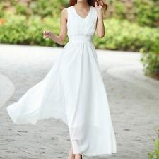 Summer Women Dress Long Dress Bohemian Slim Sleeveless Beach Dress Deep White XL