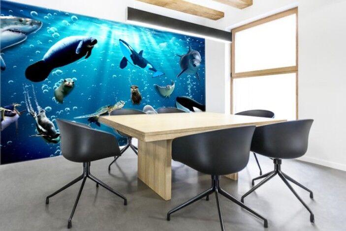3D Netter Seelöwe Delphin 84 Tapete Wandgemälde Tapete Tapeten Bild Familie DE