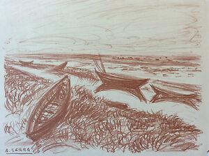 Antoine-Serra-Lithography-Provence-Boats-Edge-Sea-Signed