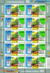 Latvia-2019-14-Latvian-Academy-of-Arts-100-years-Architecture-sheet