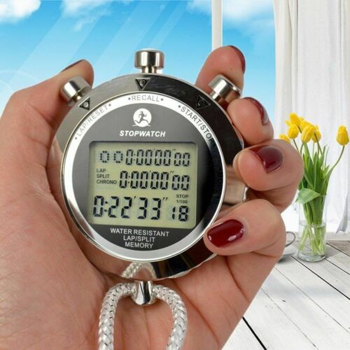 Fashion LCD Digital Antimagnetic Metal Waterproof Sports Counter Timer Stopwatch