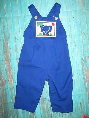 Clothing, Shoes & Accessories Boys' Clothing (newborn-5t) Vtg Blue Elephant Applique Overalls/romper/longall 12 Months Reliable Performance