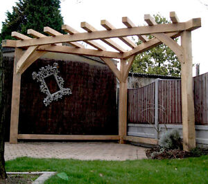 Image Is Loading OAK PERGOLA HANDMADE Corner Gazebo Wood Garden Furniture