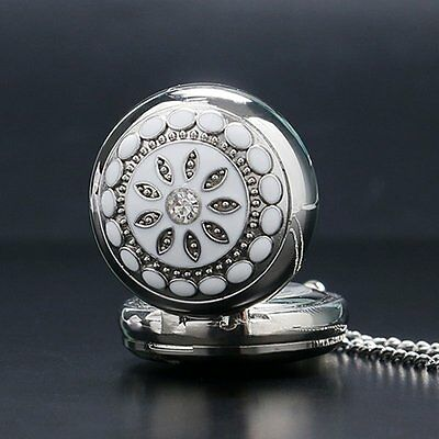Vintage Flower Crystal Quartz Pocket Watch Necklace Chain Women Ladies Xmas Gift