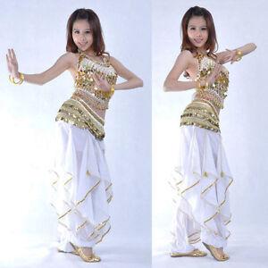 Belly-Dancing-Costume-Set-Indian-Dancewear-Performance-Suit-3pcs-Top-Pants-Belt