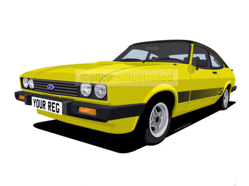 FORD CAPRI 2.0S CAR ART PRINT PICTURE (SIZE A4). PERSONALISE IT!