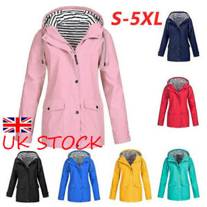 Plus-Size-Womens-Raincoat-Hoodie-Coat-Jacket-Ladies-Zip-Up-Hoody-Casual-Outwear