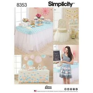 Details about SIMPLICITY SEWING PATTERN PARTY TABLE CHAIR COVERS BANNER APRON POM POM 8353