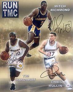 Chris Mullin Richmond Hardaway Warriors (Run Tmc) Signed 16x20 Photo Psa/Dna