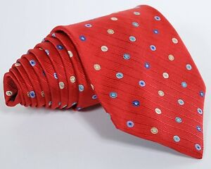 EYECATCHING-Jos-A-Bank-Red-Multicolor-Dot-Geometric-Tie-100-Silk-Made-in-Italy