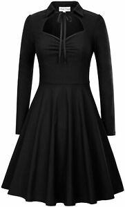 Belle-Poque-Vintage-Style-Long-Sleeve-Sweetheart-Collar-Swing-Dress-Sml-Black