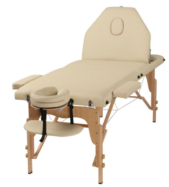 The Best Massage Table 3 Fold Cream Reiki Portable Massage Table - PU Leather Hi