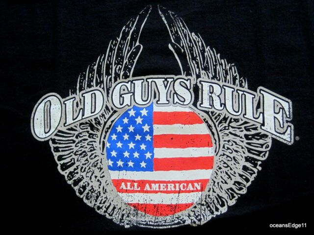 Eagle Wings,Old Guys Rule,,All American,Tee,Large,Black,Flag,Patriot,100% Cotton