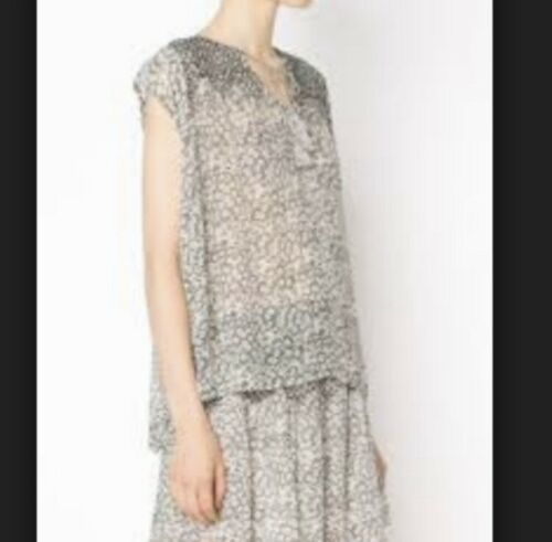 Ulla Johnson Grey Floral Print Silk Tilda Blouse